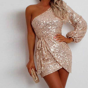 Sparkly Wrap Tie Waist One Shoulder Sequin Dress Short