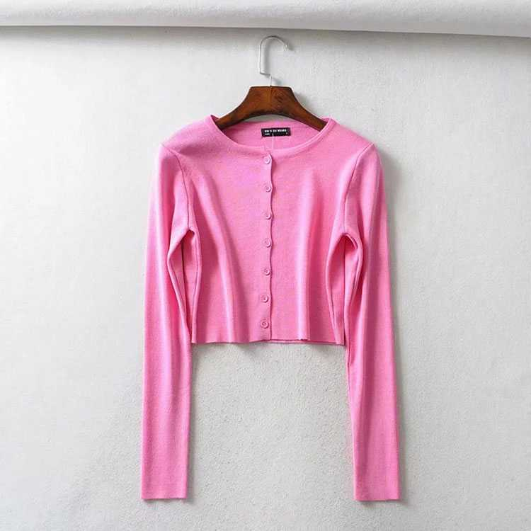 Long Sleeve Button Up Crop Top Tee Shirt For Young