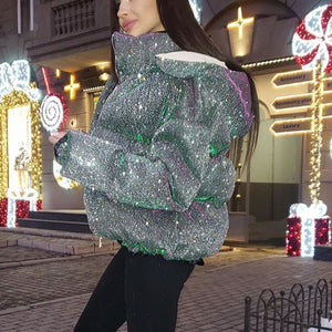 Sparkly Padded Quilted Puffer Jacket With Hood