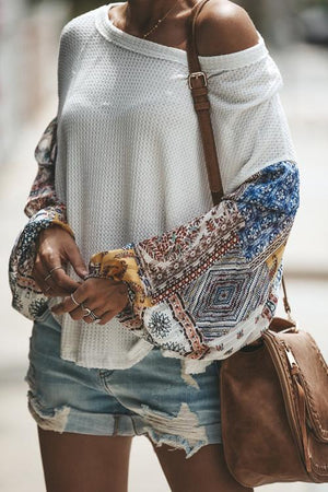 Boho Chic Oversized Patchwork Knitted Sweater With Chiffon Sleeves