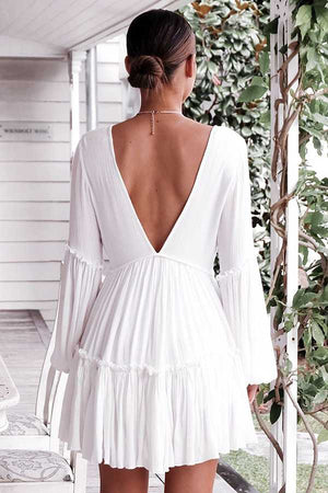Casual Ruffle Trimmed Long Puff Sleeve V Cut Out Back V Neck Dress
