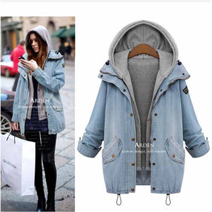 Casual Hooded Vest Two Piece Trench Button Up Denim Windbreaker