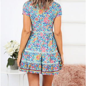 Trimming Boho Floral Button Down Flowy Mini Dress