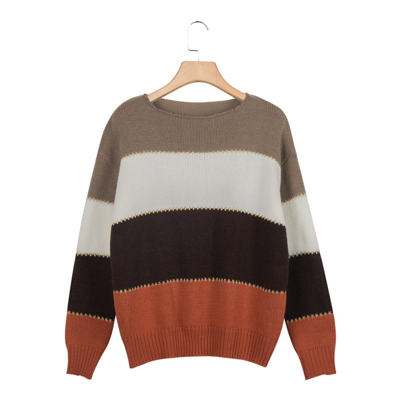Oversized Comfy Cute Striped Fall Pullover Sweaters For women