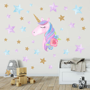 Reflective PVC Wallpaper Sticker Rainbow Unicorn Wall Decal