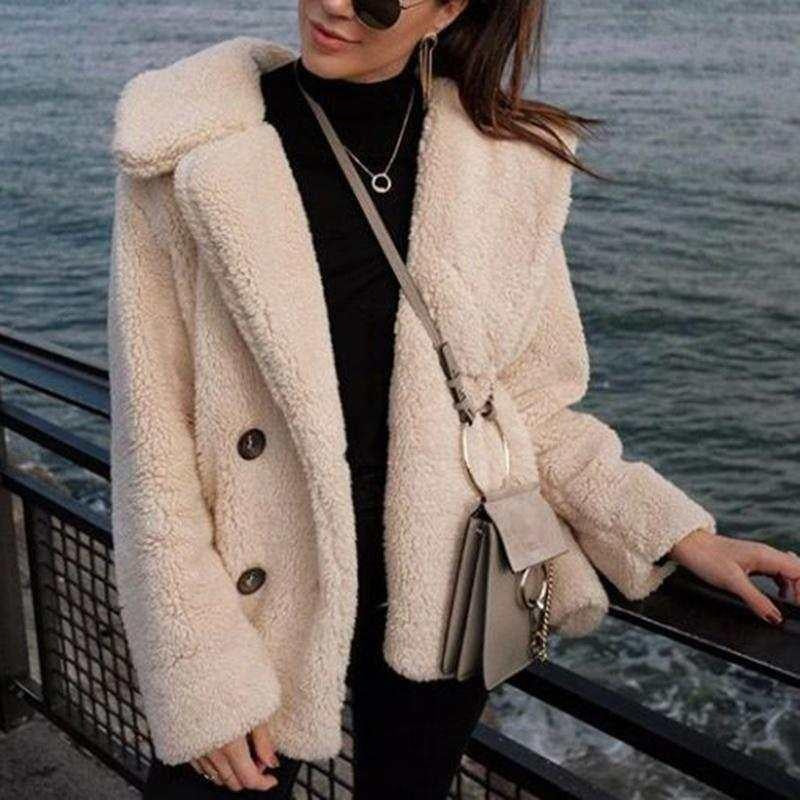 Fluffy Faux Fox Fur Laper Collar Double Breasted Teddy Fleece Jacket Women's