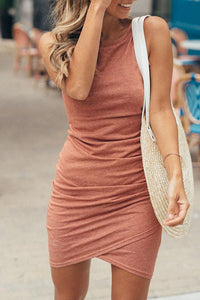 Solid Color Ruched Wrap Front Tight Tank Dress