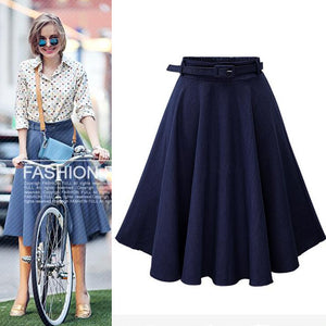 Classy Belted Waist High Waisted Full Midi Denim Skirt