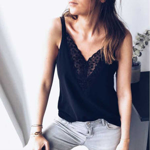Deep Plunge Floral Embroidered Lace Swing Spaghetti Cami Tank Top