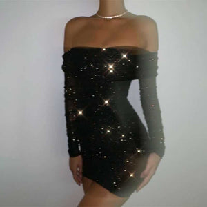 Shiny Sequined Ruched Long Sleeve Off the Shoulder Bpdycon Dress