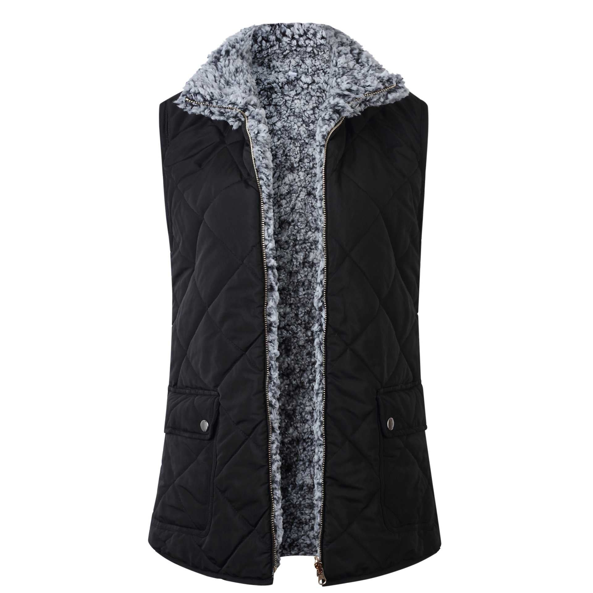 Reversible Cotton Faux Fur Lined Sherpa Shearling Vest With Pockets