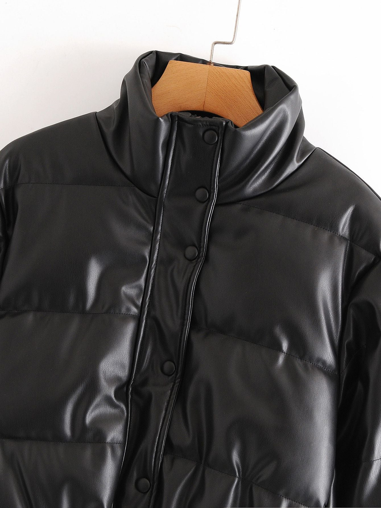 Water Repellent Faux Leather Cotton Padded Waxed Puffer Jacket