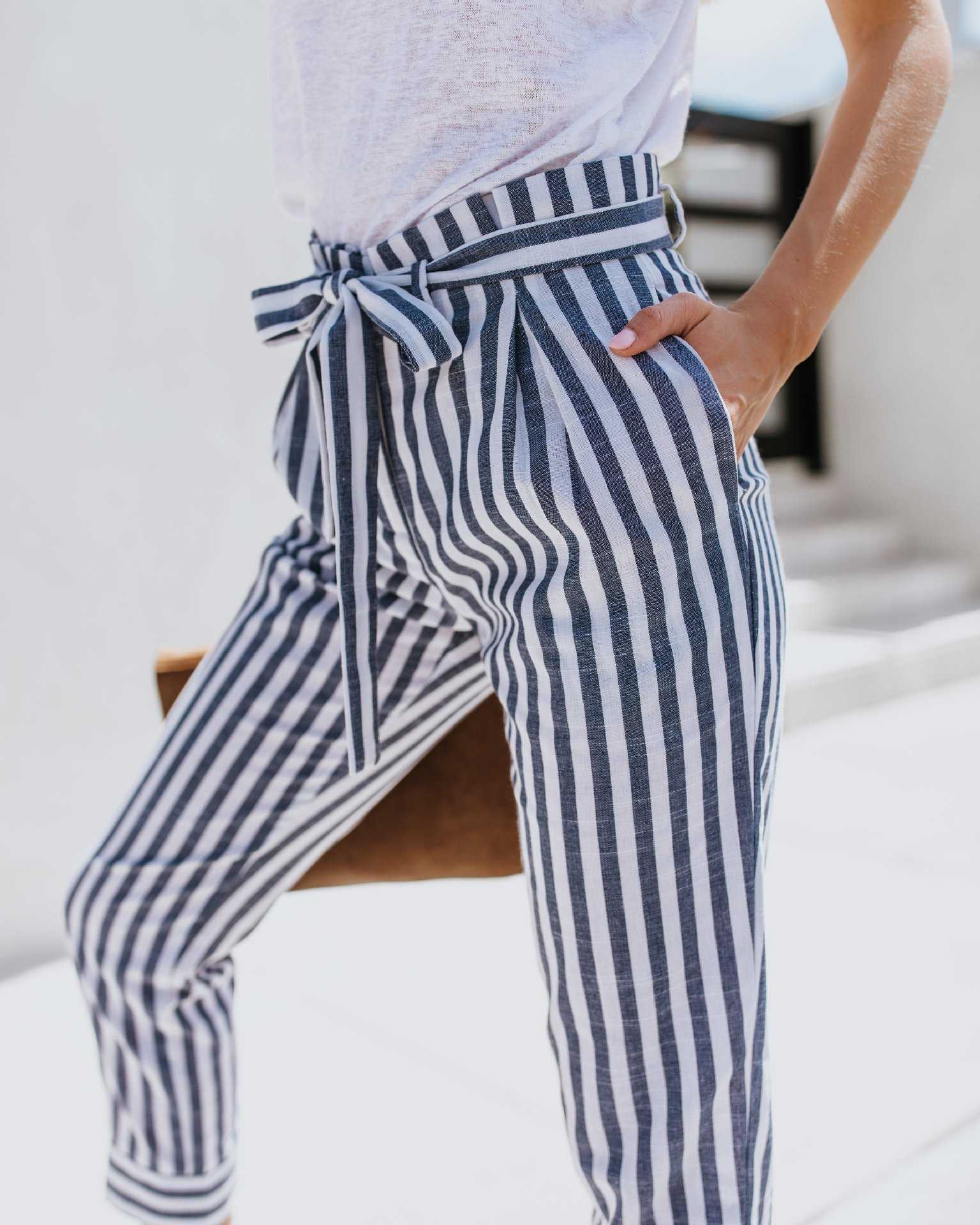 Tie Waist Belted Cigarette Trousers Striped Pants