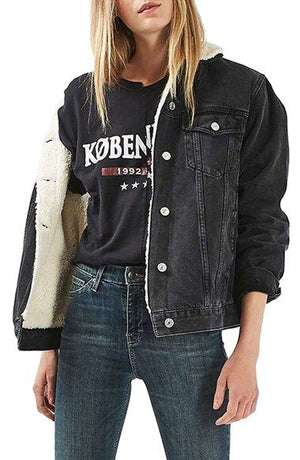 Oversized Fleece Fur Lined Denim Jacket with fur