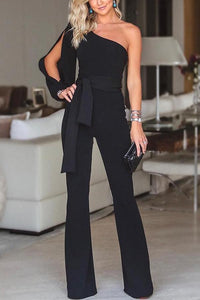 One Shoulder Split Sleeve Belted Wide Leg Jumpsuits