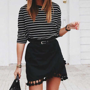 Hipster Tassels High Waist A Line Wraps Mini Skirt