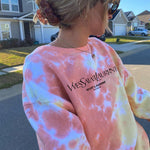 Pink Bleach Tie Dye Sweater Letters Printed Dyed Sweatshirt