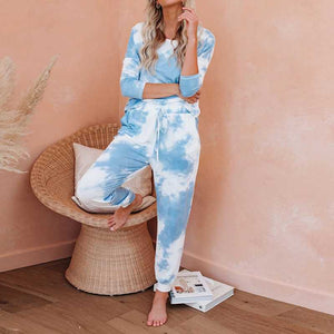 Blench Tie Dye Sweatshirt And Tie Dye Knitted Jogger Pants
