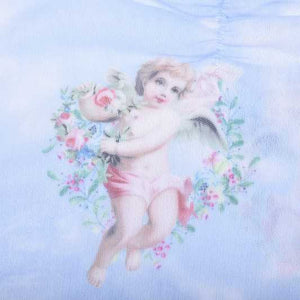 Retro Angels Cherub Lace Trim V Neck Sheer Mesh Crop Top Tshirt Puff Sleeve