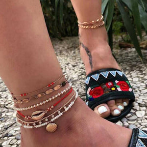 Multi Layered Boho Ankle Chains Beaded Bracelets