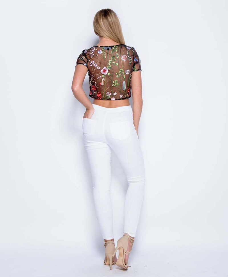 Bohemian Floral Embroidered Black Mesh Crop Top