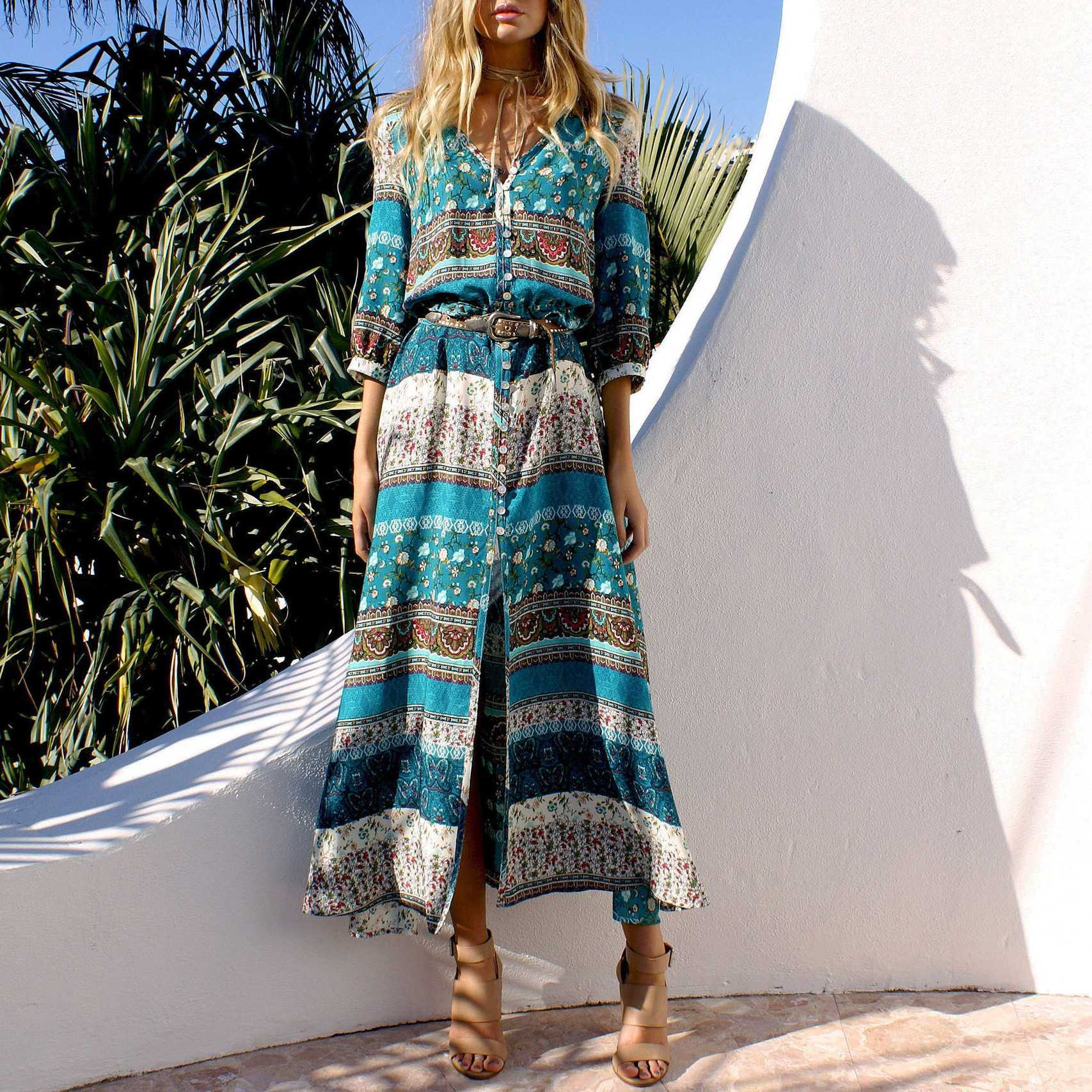 Hippie Gypsy Boho Long Beach Dress Maxi Cover Ups Beachwear