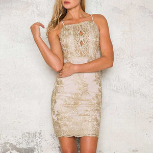 Handmade Embellished Mesh Rose Gold Backless Bodycon Dress