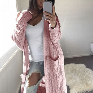 Oversized Boho French Braid Braided Knit Long Cardigan Sweaters For Women