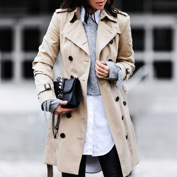 Classic Double Breasted Turtle Neck Women's Beige Trench Coat – sunifty