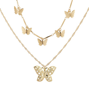 Boho Multi Butterfly Gold Beaded layered Necklace