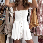 Fit Stretch Ruched Button Front Tie Shoulder Mini Sundress