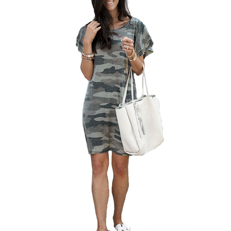 Cool Layered Angel Sleeves Camo Bodycon Camouflage Short Dress