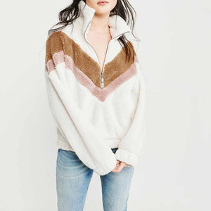 Cozy Colorblock Chevron Half Zip Faux Fur Sweatshirt Sherpa Pullover Jacket