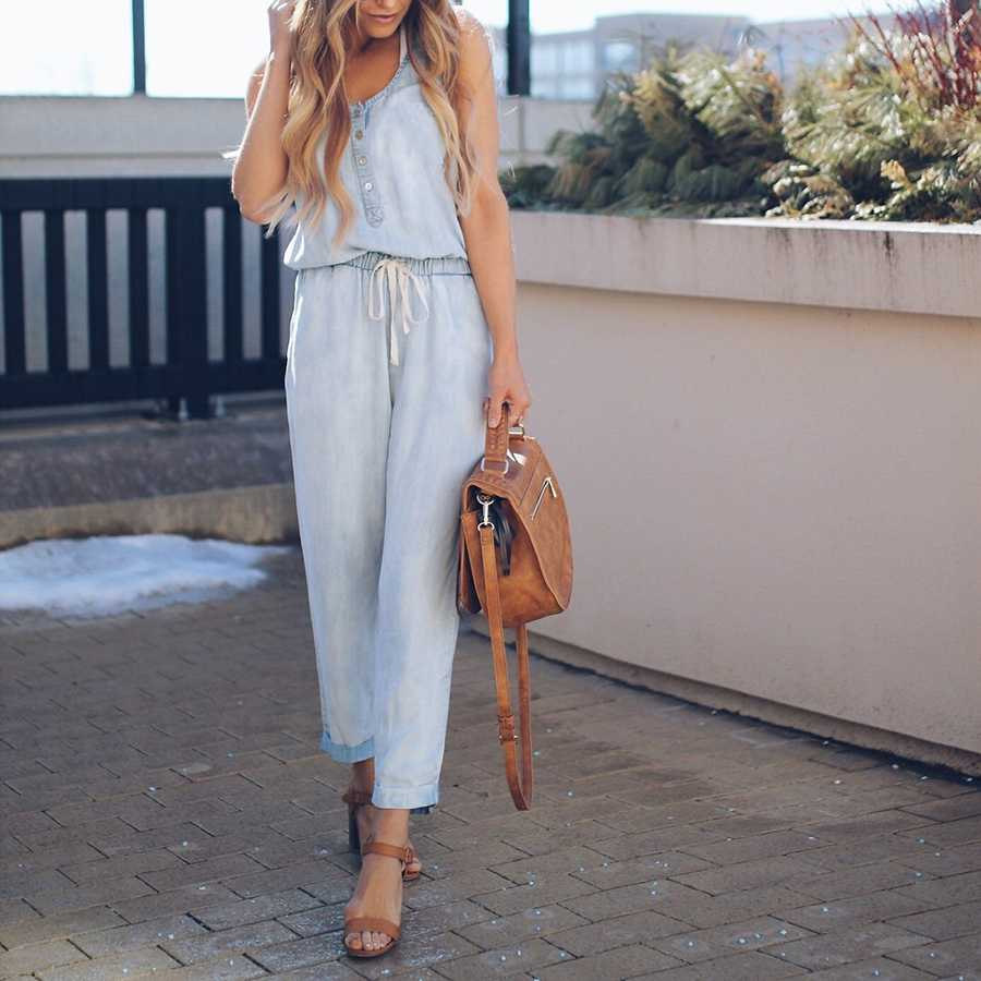 Casual High Waisted Button Up Drawstring Denim Jumpsuit Playsuits