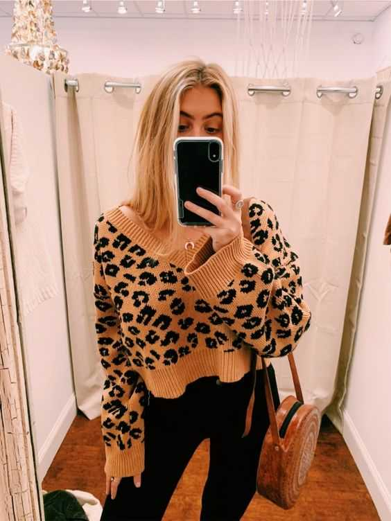 Soft Oversized V Neck Leopard Mohair Sweaters For Women