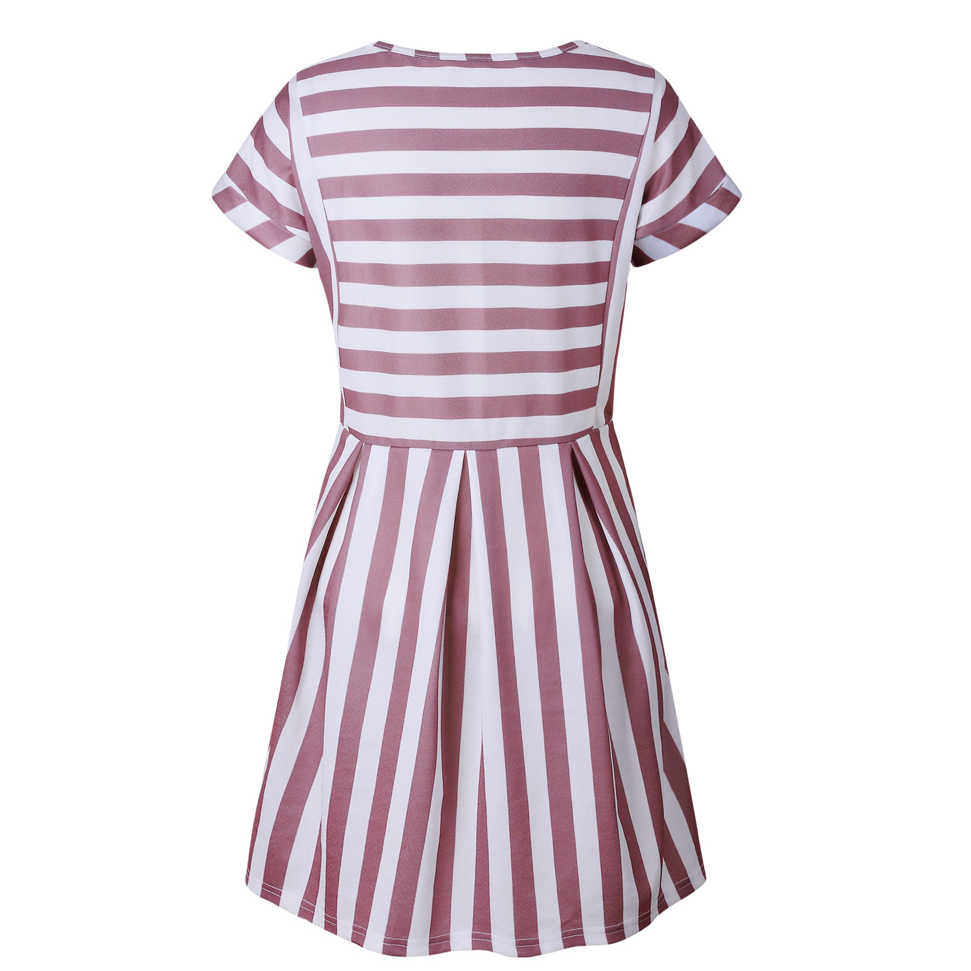 Slimming High Waisted Striped Short Sleeve Swing Dress