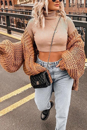 Mohair Chunky Oversized Cable Knit Baggy Sleeve Cardigan Sweater