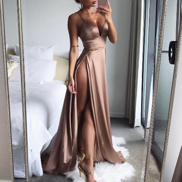 Rose Gold Spaghetti Double Split Maxi Satin Dress Gowns Backless