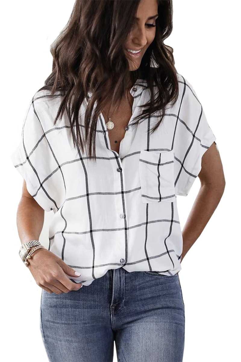 Oversized Big Checked Black and White Lattice Flannel Button Up Shirt with Pocket