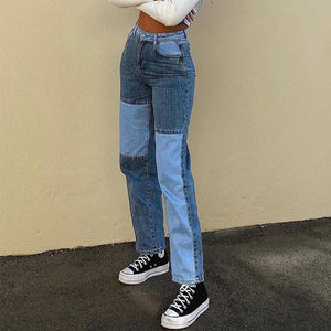 Patchwork Stitch Color Block Slim Fit Straight Leg Jeans Ripped Denim Pants