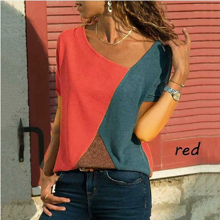 Casual Slimming Geometric Rainbow Color Block Tee Shirt