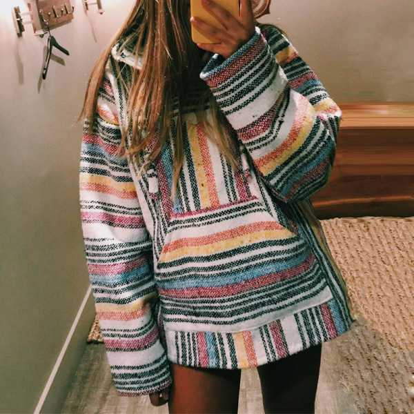 Colorblock Raibow Striped Hooded Sweatshirts For Women