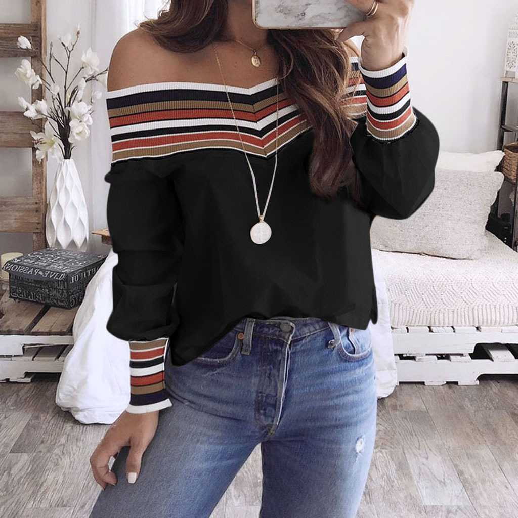 Casual Colorful Rainbow Stripes Off The Shoulder Long Sleeve Shirts