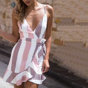 Colorful Striped Tie Waist Frill Wrap Short Ruffle Dress