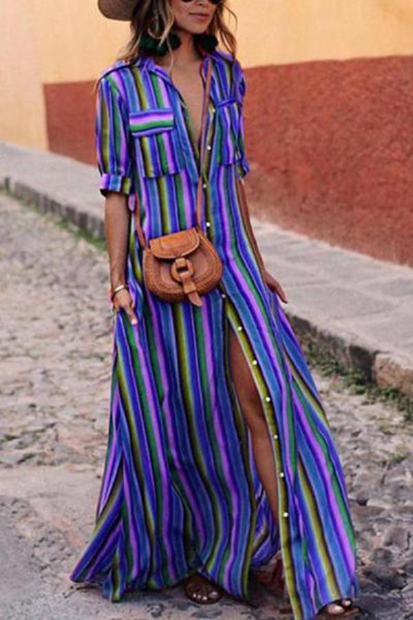 Boho Multi striped long maxi button down dress with sleeves