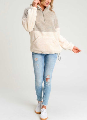 Two Toned Fuzzy Sherpa Fleece Pullover