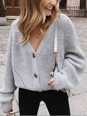 Chunky Oversized Big V Neck Button Up College Sweater For Women