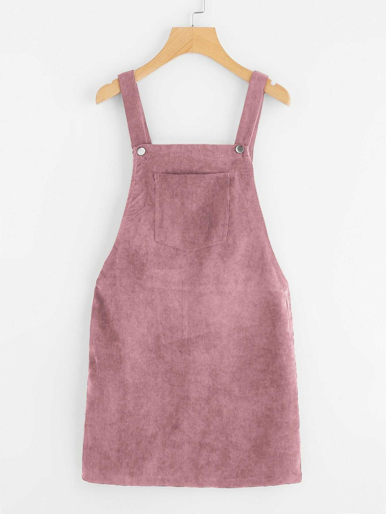 Casual Corduroy Overall Mini Dress Cord Jumper