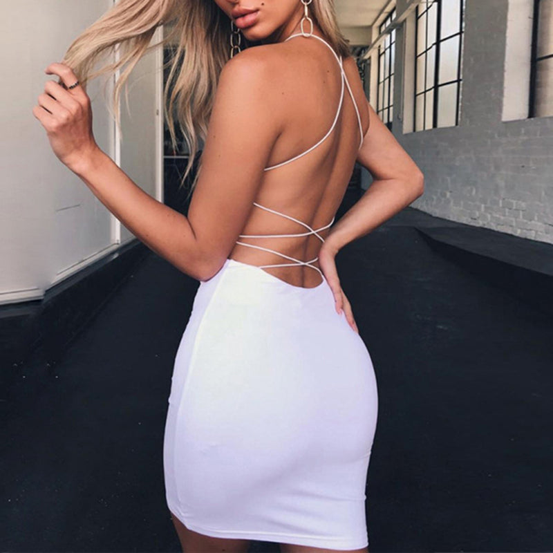 Sexy Spaghetti Strap Back Criss Cross Halter Dress