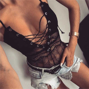 Sexy Plunge Criss Cross Front Mesh Lace Bodysuit